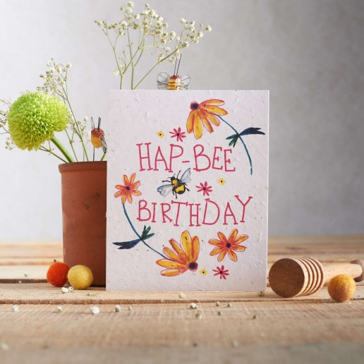 Hap Bee Birthday seed card
