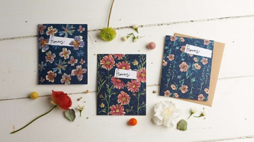 Pack of 3 watercolour flower seed cards